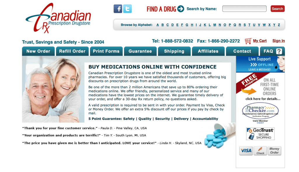 CanadianPrescriptionDrugstore.com Pharmacy Review