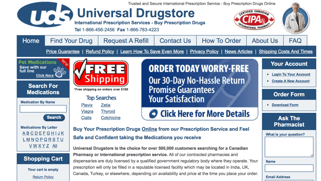 UniversalDrugStore.com Pharmacy Review